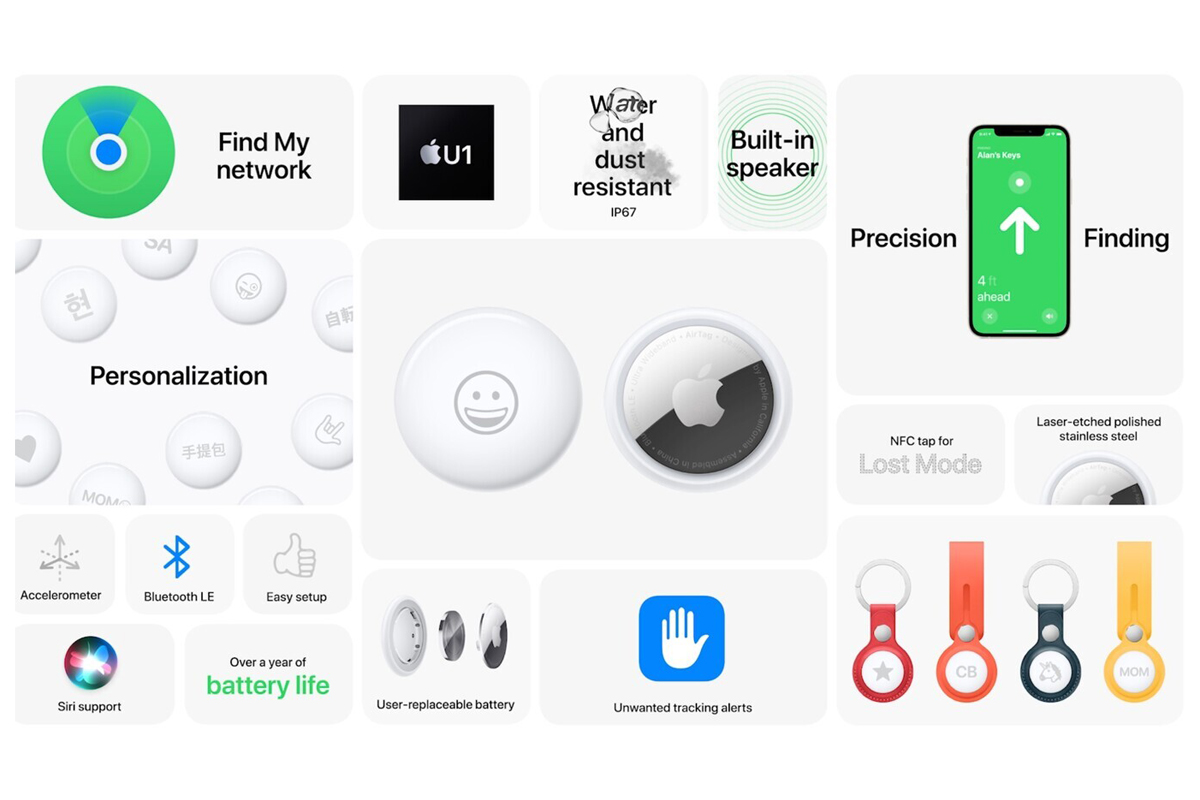 Especificaciones principales de los Airtags de Apple