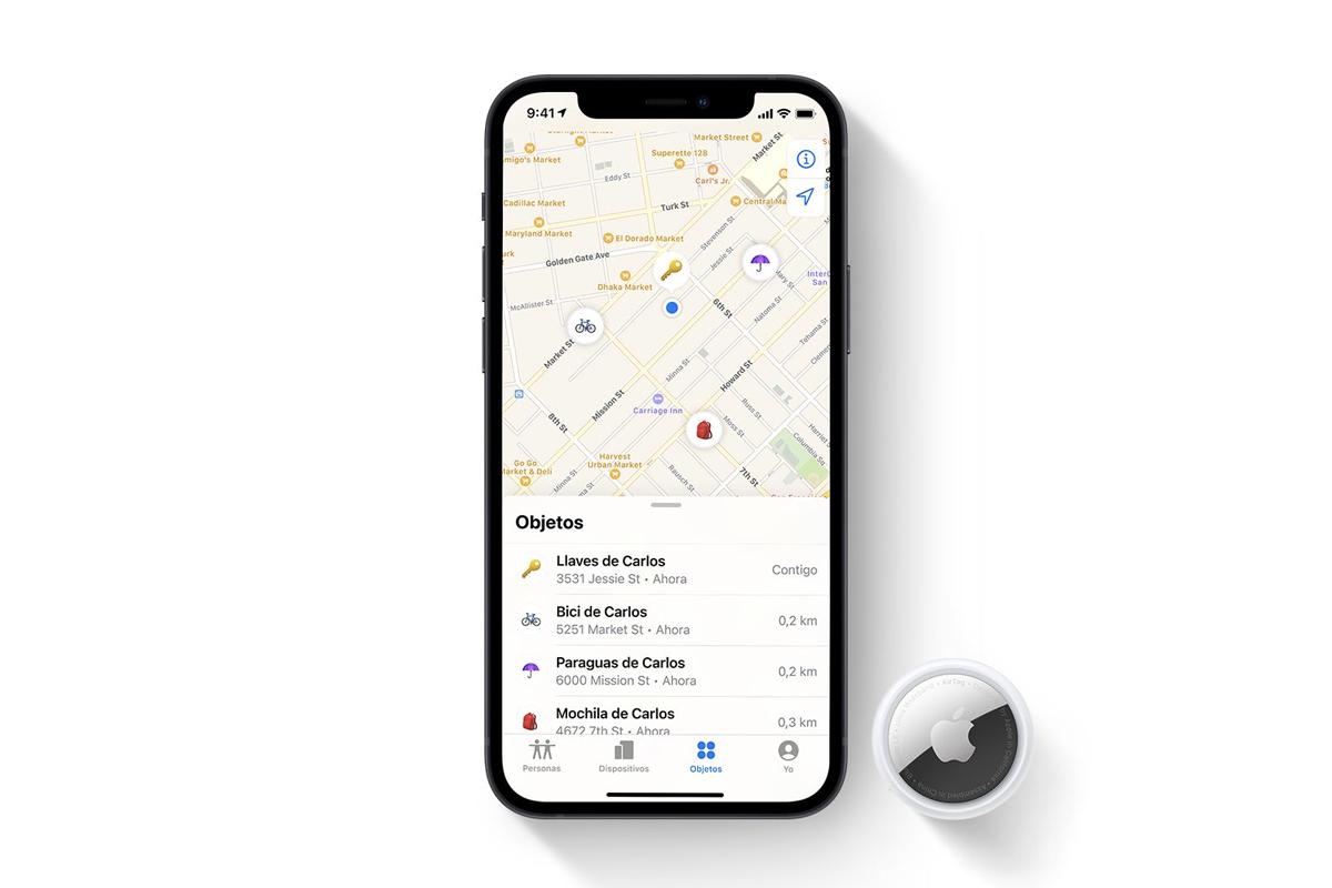 Detalle de un mapa de localización de los Airtags de Apple