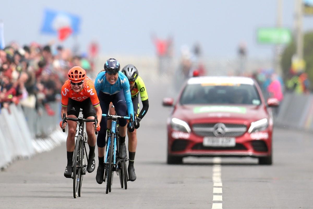 Marianne Vos, Mavi García y Soraya Paladin en la 2ª etapa del Tour de Yorkshire