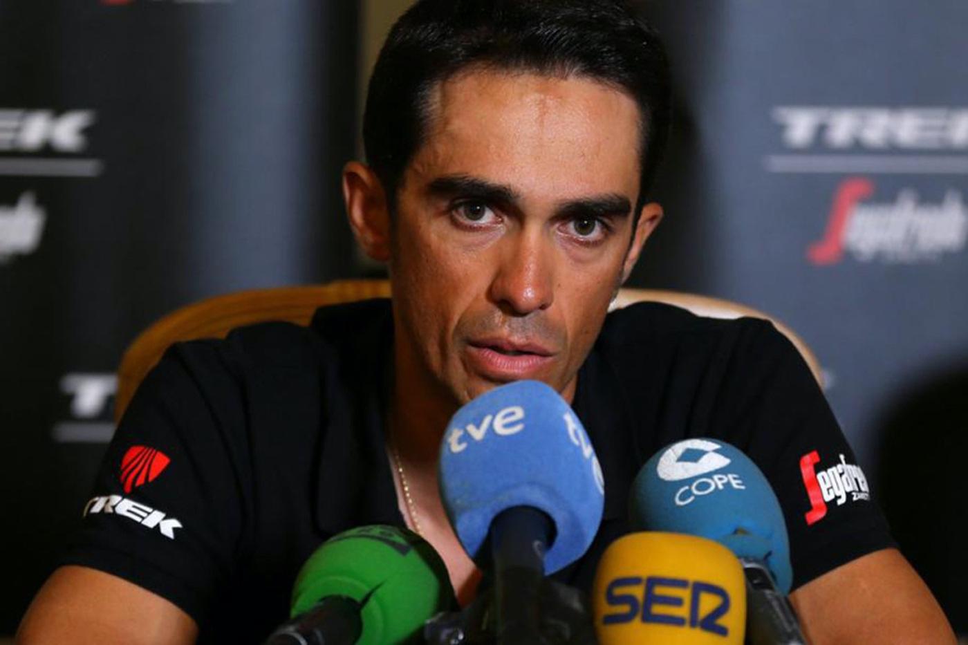 Alberto Contador en rueda de prensa