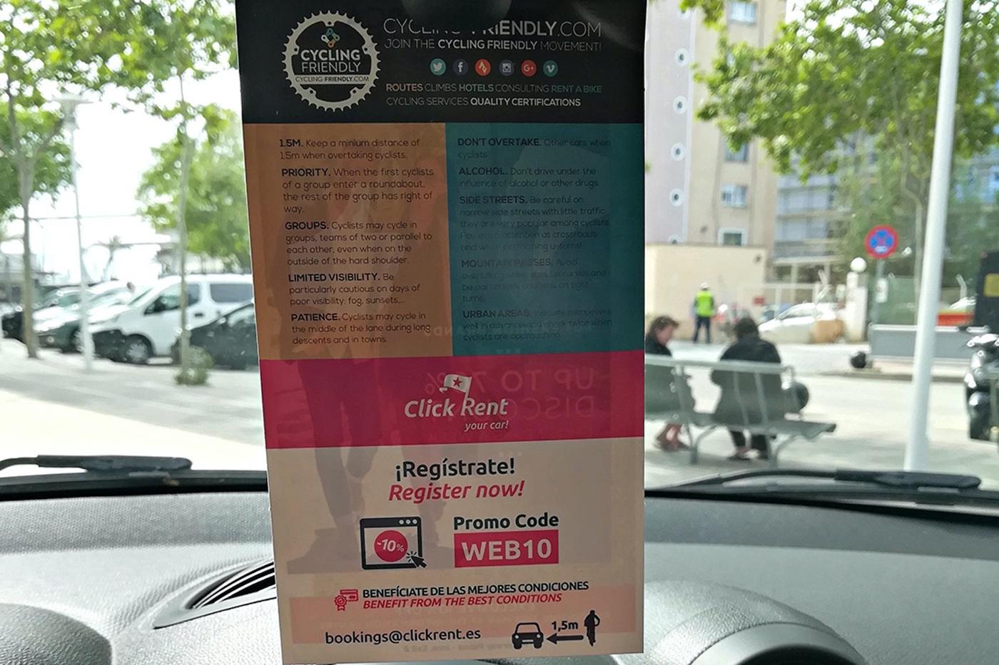 "Campaña de concienciación en coches de alquiler: ""Rent a Car Cycling Friendly"""