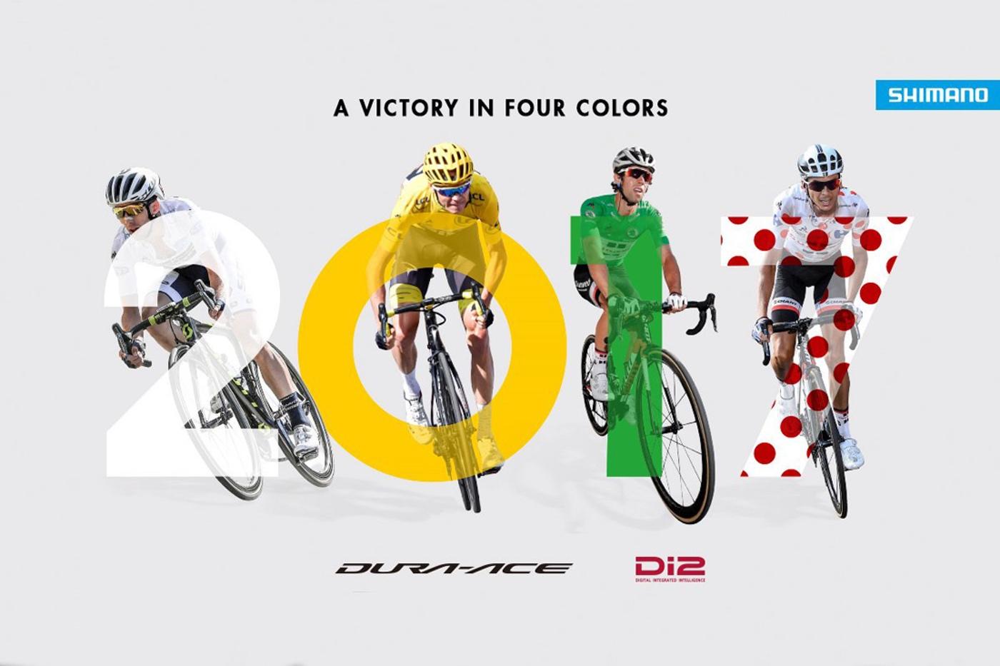Los 4 vencedores del Tour llevaban el nuevo Shimano Dura-Ace Di2