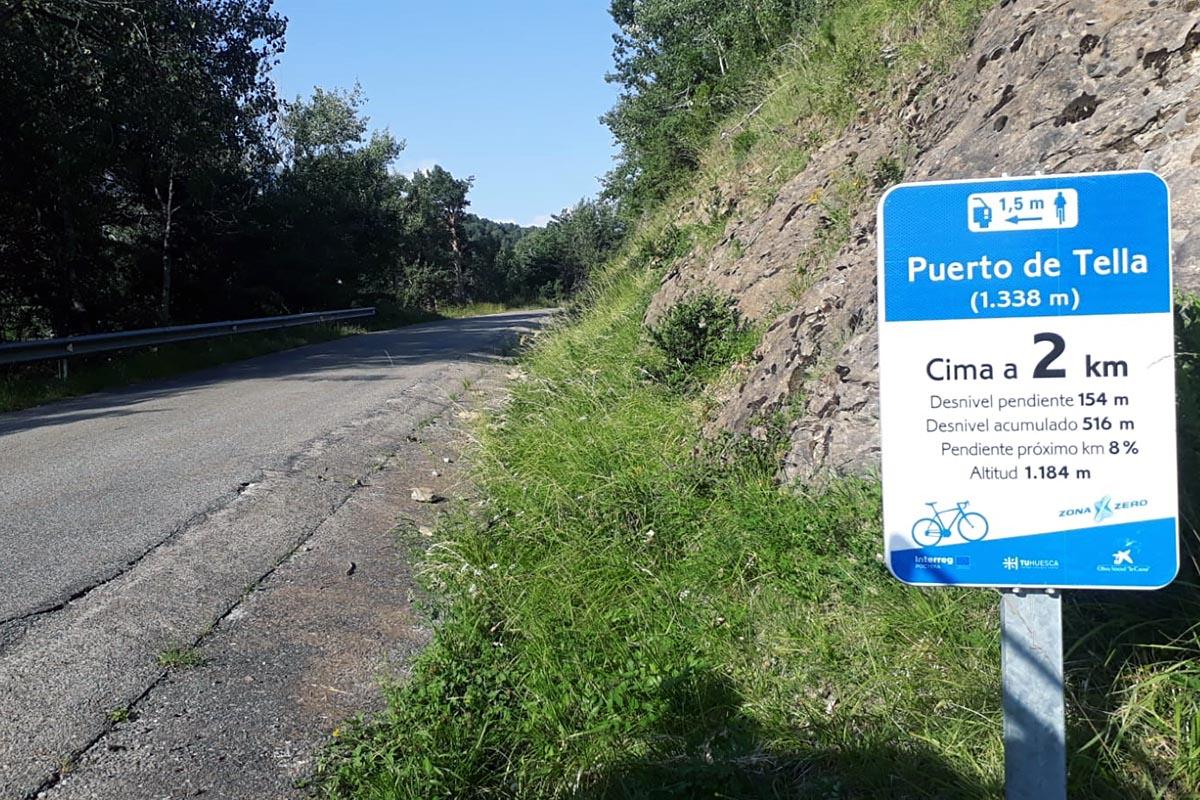 Zona Zero señaliza los puertos de montaña de Sobrarbe para los ciclistas
