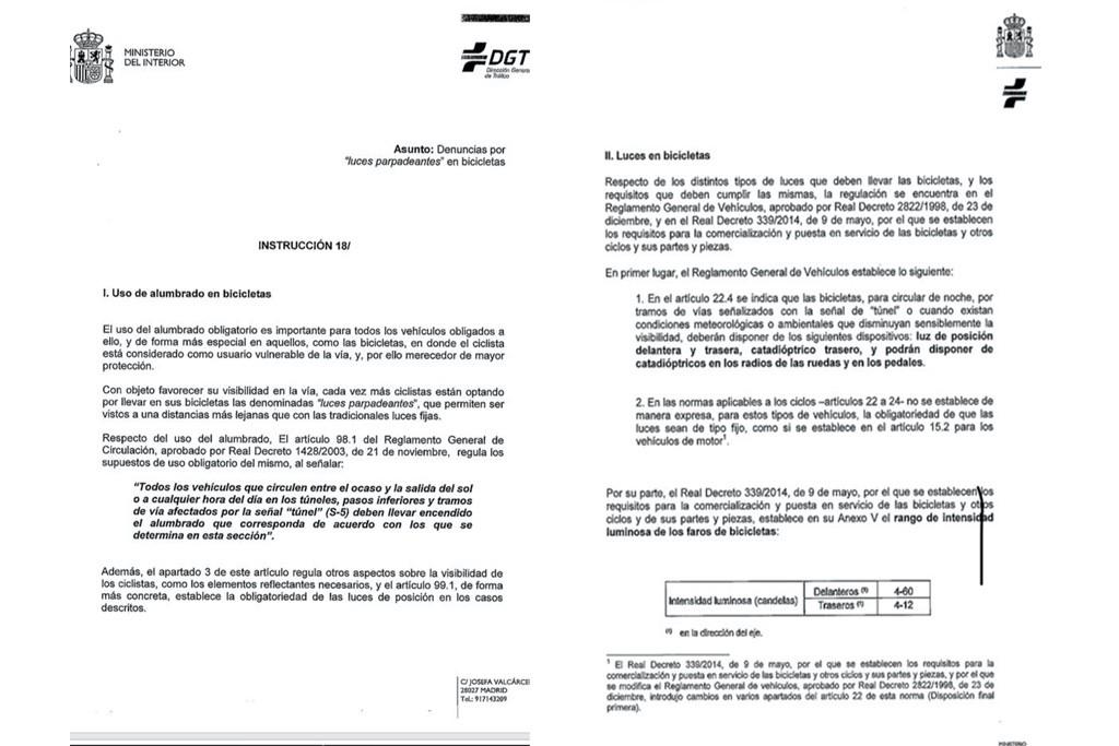 La DGT aclara que las luces parpadeantes de las bicis son legales