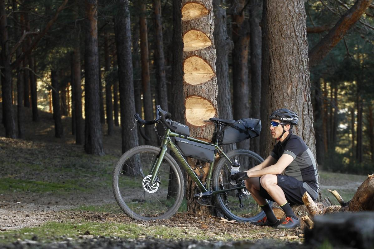 Descansando a la sombra de un árbol en un viaje en bicicleta