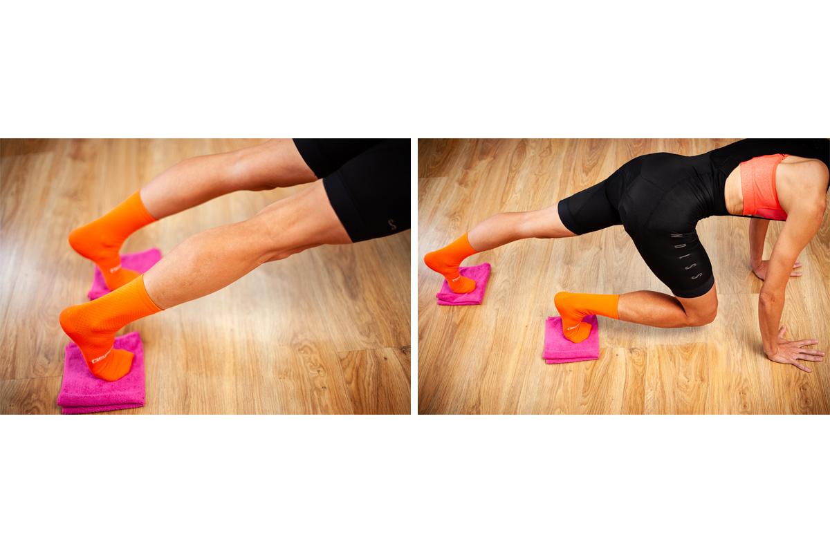Planchas con bayetas para fortalecer las rodillas y core