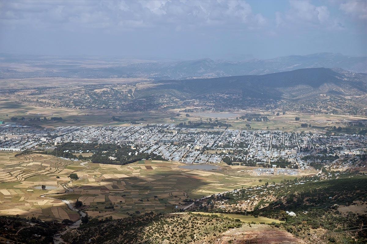 Vista general de Wukro desde el altiplano