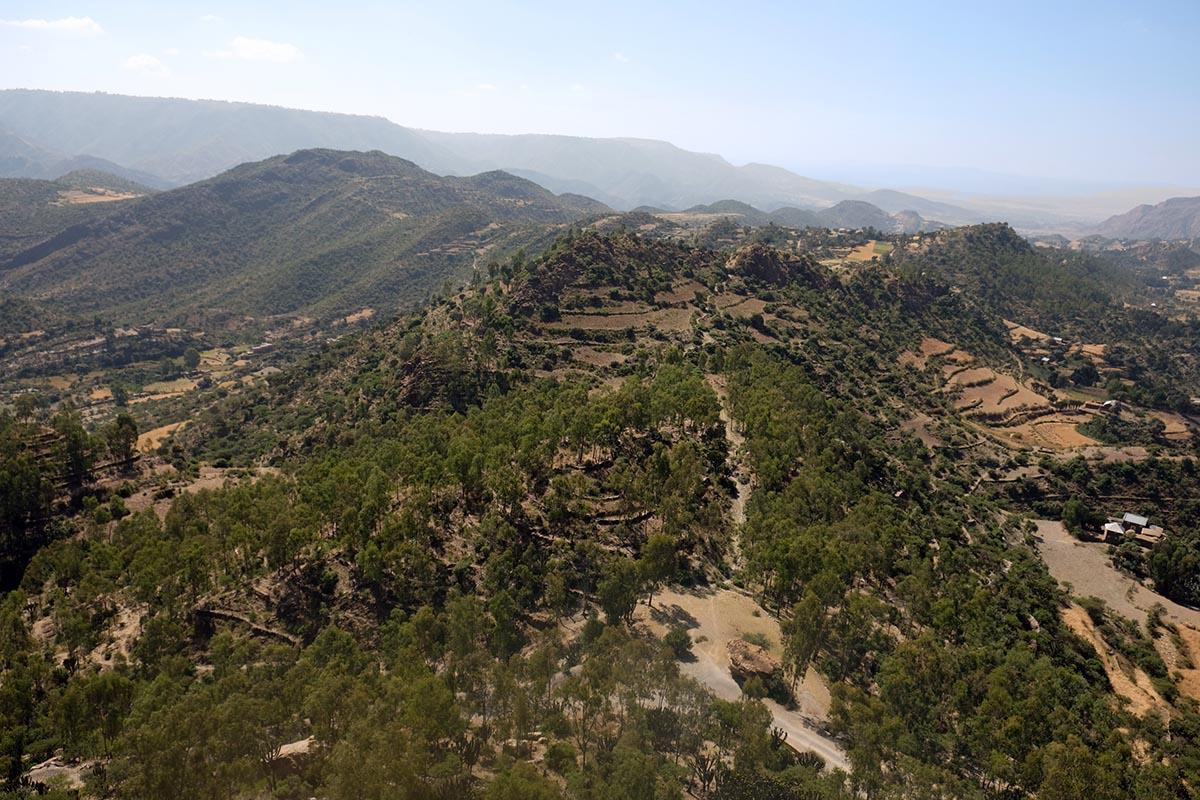 Camino que sale de Wukro (al fondo) dirección norte