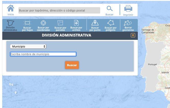 Buscando término municipal en la web del Centro Nacional de Información Geográfica