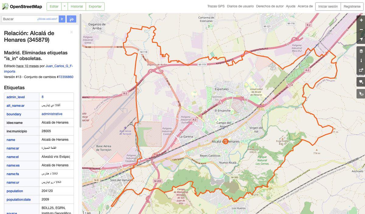 Término municipal en Open Street Map