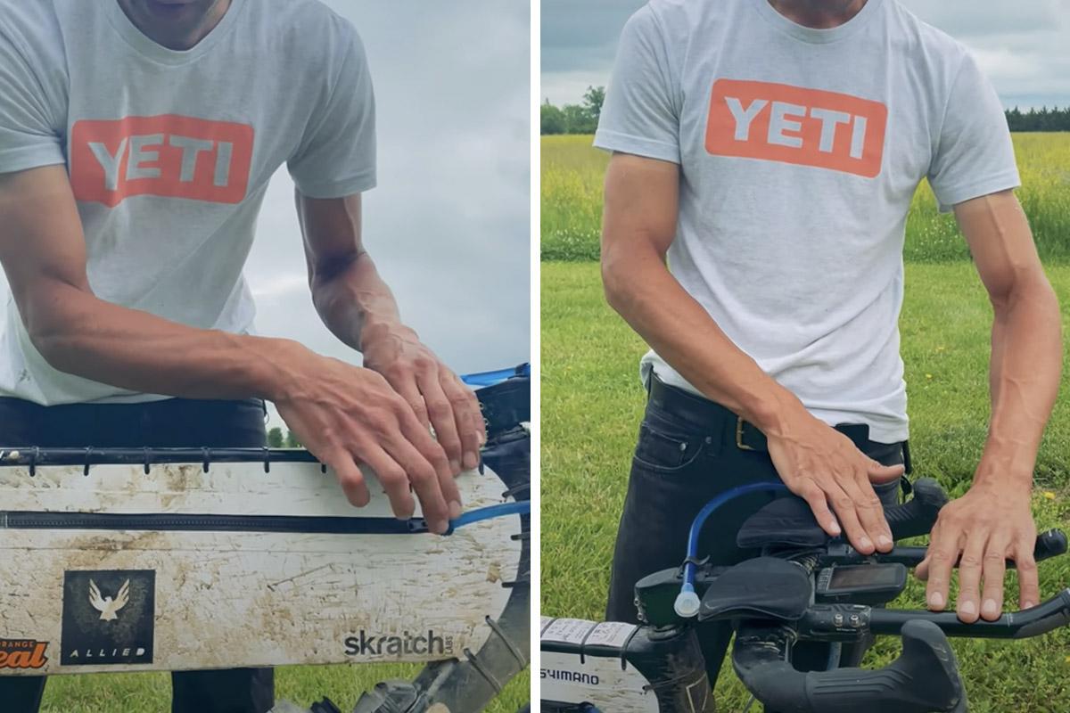Imagen de la bolsa de hidratación montada en la bici de Colin Strickland