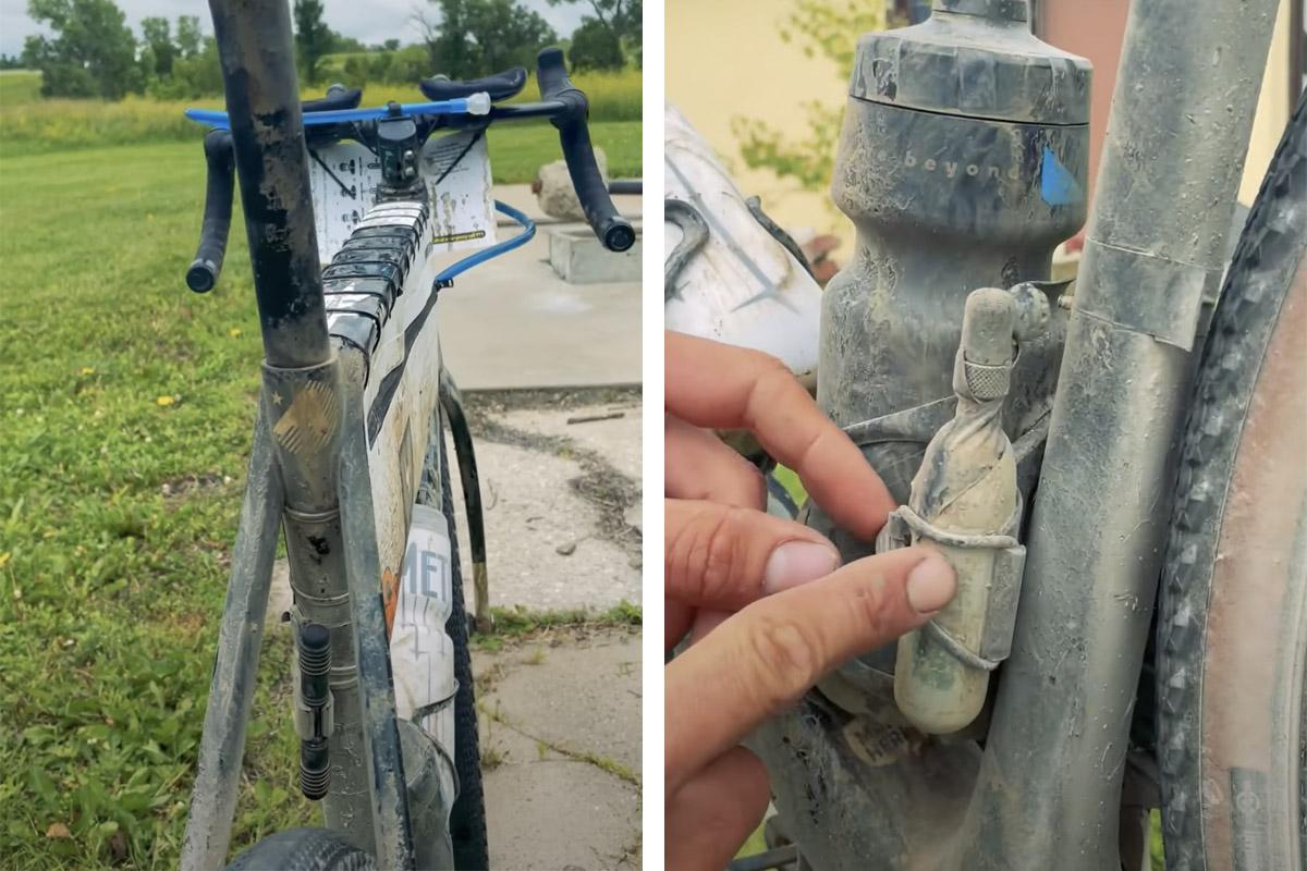 Detalles de repuestos en una bici de gravel de competición